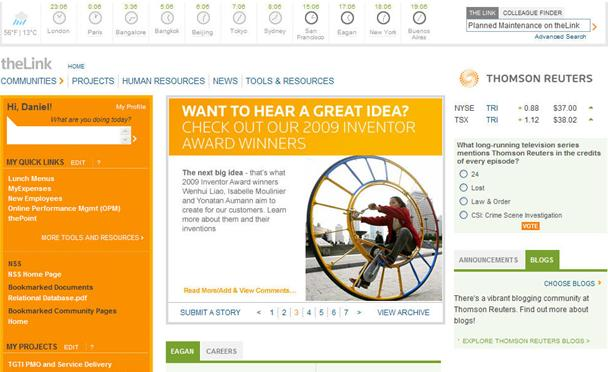 Thomson Reuters intranet home