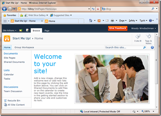 """SharePoint 2010 with the """"ribbon"""" interface"""